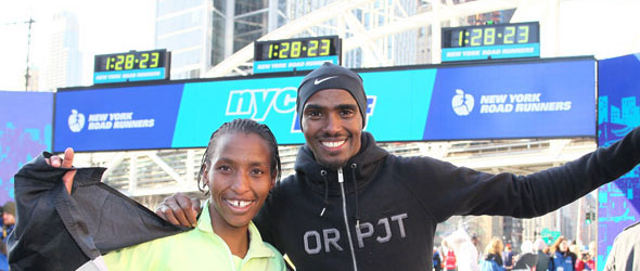 Caroline Rotich and Mo Farah