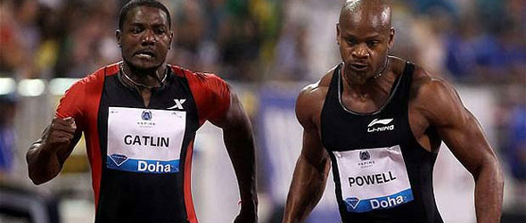 Gatlin edges Powell in Doha